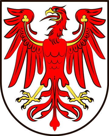 Coat of arms of Brandenburg is state of Germany. Vector illustration from the Heraldry of the World authors and compilers Olga Bortnik, Ivan Rezko, 2008