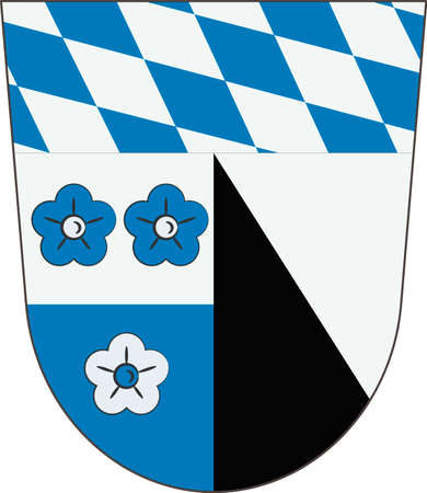 Coat of arms of Kelheim is a district in Lower Bavaria, Germany. Vector illustration from the Heraldry of the World authors and compilers Olga Bortnik, Ivan Rezko, 2008 Illustration