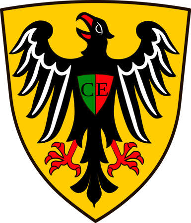 Coat of arms of Esslingen am Neckar is a city in the Stuttgart Region of Baden-Wurttemberg, Germany. Vector illustration from the Heraldry of the World authors and compilers Olga Bortnik, Ivan Rezko, 2008