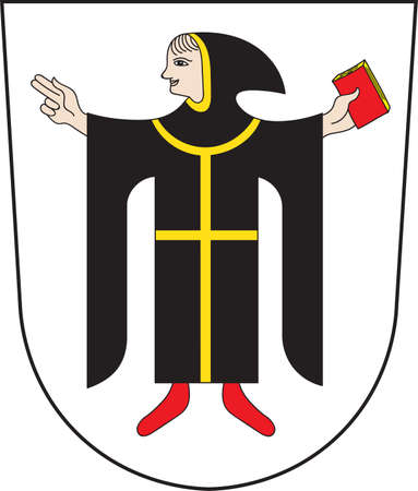 Coat of arms of Munich is the capital and largest city of the German state of Bavaria, on the banks of River Isar north of the Bavarian Alps. Vector illustration from the