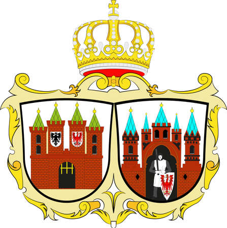 Coat of arms of Brandenburg an der Havel is a town in Brandenburg, Germany. Vector illustration from the Heraldry of the World authors and compilers Olga Bortnik, Ivan Rezko, 2008