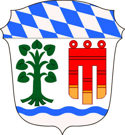 Coat of arms of Lindau is a district in Swabia, Bavaria, Germany. Vector illustration from the Heraldry of the World authors and compilers Olga Bortnik, Ivan Rezko, 2008 Illustration