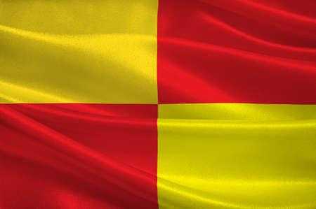 Tarbes의 국기는 프랑스 남서부의 Occitanie 지역에있는 Hautes-Pyrenees 부서의 공동체입니다. 차원 그림