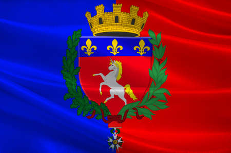 Flag of Saint-Lo is a commune in north-western France, the capital of the Manche department in the region of Normandy. 3d illustration  Stock Photo