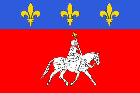 Flag of Cognac is a commune in the Charente department in southwestern France. 3D illustration Stock Photo