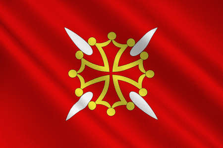Flag of Haute-Garonne is a department in the southwest of France. 3d illustration Banco de Imagens