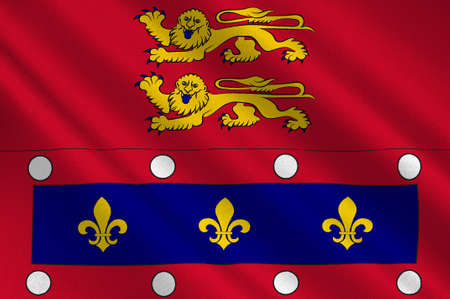 Flag of Orne is a department in the northwest of France in the region of Normandy. 3d illustration