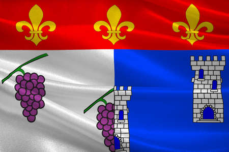 Flag of Les Andelys is a commune in the Eure department in Normandy in northern France. 3d illustration Stock Photo