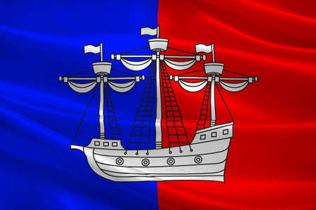 Flag of Dieppe is a coastal community in the Arrondissement of Dieppe in the Seine-Maritime department in the Normandy region of northern France. 3d illustration