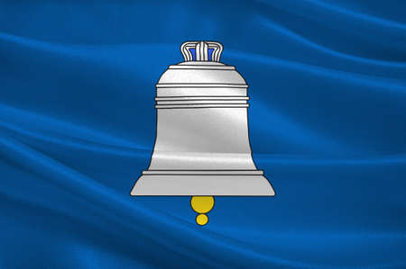 Flag of Saint-Gaudens is a commune and a sub-prefecture of the Haute-Garonne department in southwestern France. 3d illustration Banco de Imagens