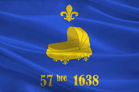 Flag of Saint-Germain-en-Laye is a commune in the Yvelines department in the Ile-de-France in north-central France. 3d illustration