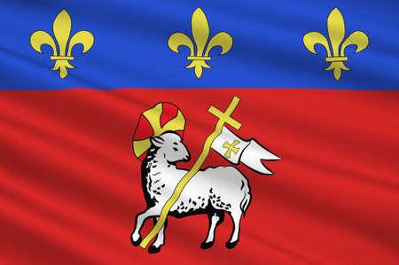 Bandiera di Rouen è una città sulla Senna, nel nord della Francia. È la capitale della regione della Normandia. Illustrazione 3D Archivio Fotografico - 91621222