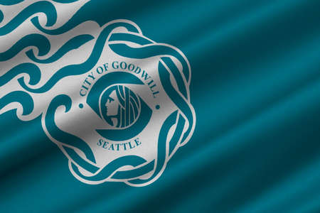 Flag of Seattle is a West Coast seaport city, USA. 3D illustration