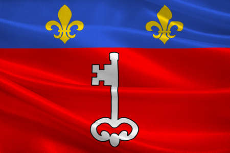 Flag of Angers is a city of the Maine-et-Loire department in western France. 3d illustration Stock Photo