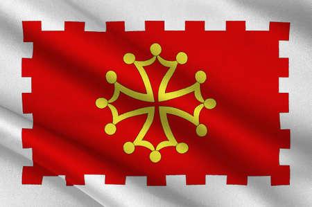 Flag of Aude is a department in south-central France. 3d illustration Standard-Bild