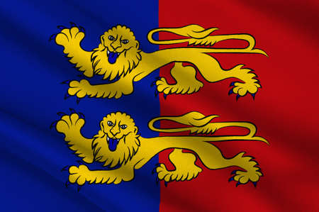 Flag of Manche is a French department in Normandy. 3d illustration