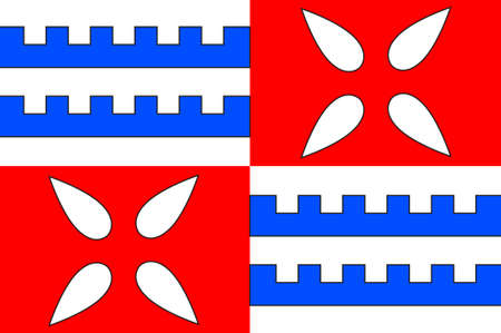 Flag of Muret is a commune in the Haute-Garonne department, of which it is a subprefecture, in the Occitanie region of southwestern France. 3d illustration