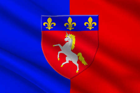 Flag of Saint-Lo is a commune in north-western France, the capital of the Manche department in the region of Normandy. 3d illustration Banque d'images