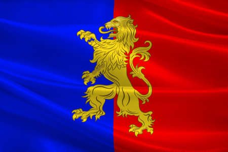 Flag of Bernay is a commune in the west of the Eure department in northern France. The city is in the Pays dOuche and the Lieuvin. 3d illustration Stock Photo