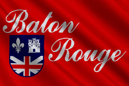 Flag of Baton Rouge is the capital of Louisiana, United States. 3D illustration