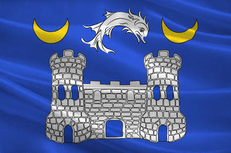 Flag of Avranches is a commune in the Manche department in the Normandy region in northwestern France. 3d illustration Stock Photo