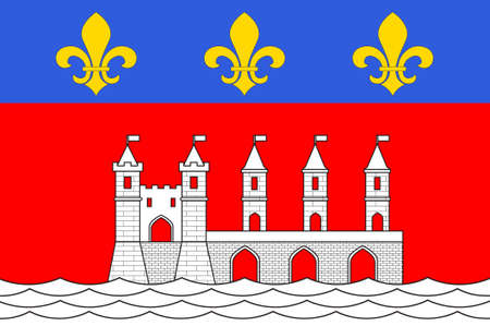 Flag of Saintes is a commune and historic town in southwestern France, in the Charente-Maritime department of which it is a sub-prefecture, in Nouvelle-Aquitaine. 3D illustration Standard-Bild