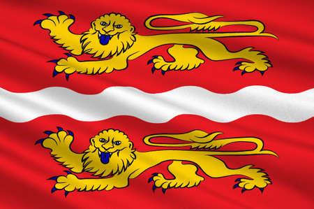 Bandiera della Senna Marittima è un dipartimento della Francia nella regione della Normandia nel nord della Francia. Illustrazione 3D Archivio Fotografico - 91626864