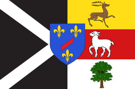 Flag of Rambouillet is a commune in the Yvelines department in the Ile-de-France in north-central France. 3d illustration Stock Photo