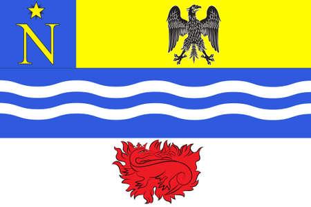 Bandiera di Fontainebleau è una sotto-prefettura del dipartimento della Senna e Marna, ed è la sede del distretto di Fontainebleau, in Francia. Illustrazione 3D Archivio Fotografico - 91628315