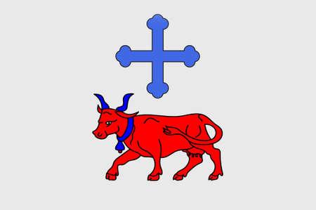Oloron-Sainte-Marie의 국기는 남서부 프랑스의 Bearn 지역에있는 피레네 산맥 - 아틀란티크 부서의 공동체입니다. 3D 일러스트 레이션