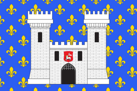 Flag of Carcassonne is a fortified French town in the Aude department of Region Occitanie, France. 3d illustration