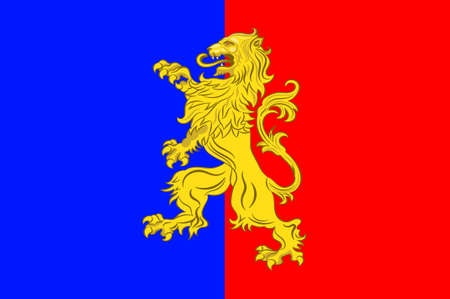 Flagge von Bernay ist eine Gemeinde im Westen des Departements Eure in Nordfrankreich. Die Stadt liegt im Pays d'Ouche und im Lieuvin. Abbildung 3d