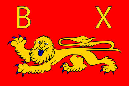 Flag of Bayeux is a commune in the Calvados department in Normandy in northwestern France. 3d illustration