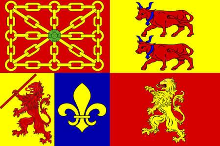 피레네 - 아틀란티스의 국기는 프랑스 남서부의 누벨 - 아키텐 (Nouvelle-Aquitaine) 지역의 한 부서입니다. 차원 그림