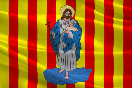 Flag of Perpignan is a city, a commune, and the capital of the Pyrenees-Orientales department in southern France. 3d illustration