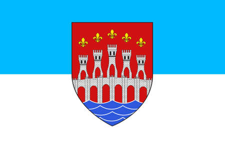 Flag of Cahors is the capital of the Lot department in south-western France. 3d illustration