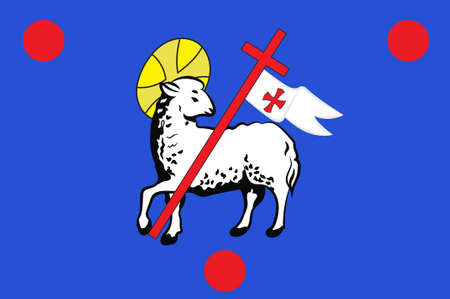 Flag of Grasse is a commune in the Alpes-Maritimes department, on the French Riviera. 3d illustration