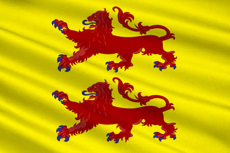 Hautes-Pyrenees의 국기는 프랑스 남서부의 한 부서입니다. 오 악티에 (Occitanie) 지역의 일부입니다. 차원 그림