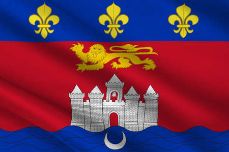 Flag of Bordeaux is a port city on the Garonne River in the Gironde department in southwestern France. 3d illustration