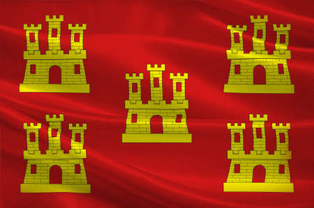 Flag of Poitou was a province of west-central France whose capital city was Poitiers.. 3D illustration