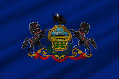 펜실베니아주의 미국 국기. 3D 일러스트 레이션 스톡 콘텐츠