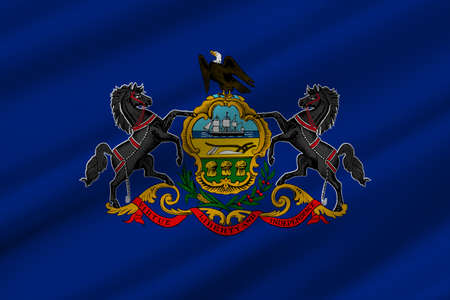 Flag of Pennsylvania state of the United States. 3D illustration