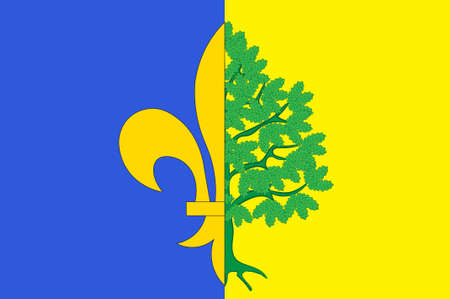 Flag of Mantes-la-Jolie is a commune based in the Yvelines department in the Ile-de-France region in north-central France. 3d illustration Stock Photo
