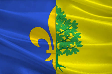 Flag of Mantes-la-Jolie is a commune based in the Yvelines department in the Ile-de-France region in north-central France. 3d illustration 写真素材