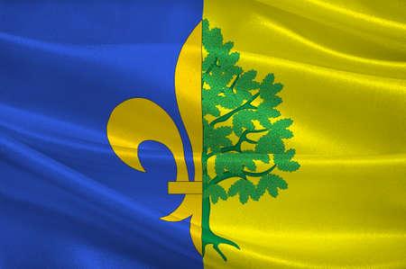 マント ・ ラ ・ ジョリーの旗は、北中央フランスでイルド フランス地方のイヴリーヌ県の部門のコミューンです。3 d イラストレーション