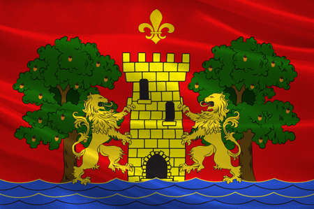 Flag of Bayonne is a city and commune and one of the two sub-prefectures of the department of Pyrenees-Atlantiques, in the Nouvelle-Aquitaine region of south-western France. 3D illustration Reklamní fotografie