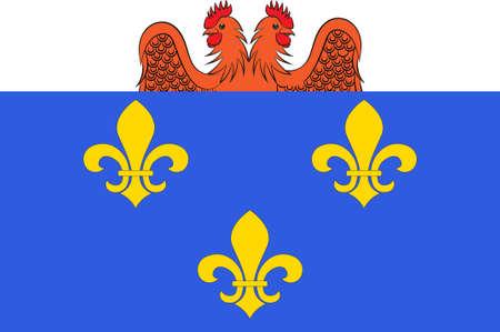 Vlag van Versailles is een stad in het departement Yvelines in de regio Ile-de-France, Frankrijk. 3D illustratie