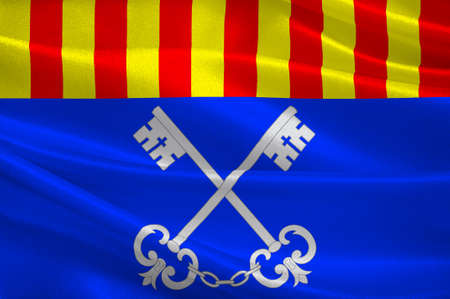 Flag of Ceret is a commune in the Pyrenees-Orientales department in southern France. 3d illustration 免版税图像 - 91630838