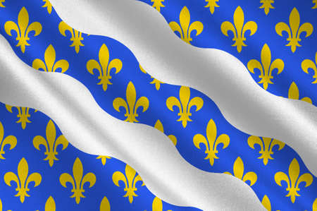 Flag of Yvelines is a French department in the region of Ile-de-France. 3d illustration