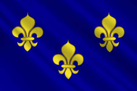 Flag of Ile-de-France also known as the region parisienne is one of the 18 regions of France, and includes the city of Paris. 3d illustration Reklamní fotografie